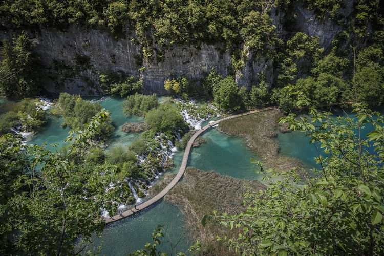 bridge over troubled water Aerial View Beauty In Nature Croatia Crystal Clear Crystal Clear Waters Day Extreme Weather EyeEmNewHere High Angle View Lake Lakes  Natural Natural Disaster Nature Nature No People Outdoors Plitvice Plitvice Lakes National Park Plitvice National Park Reservoir Stream - Flowing Water Tranquility Tree Water EyeEmNewHere The Great Outdoors - 2018 EyeEm Awards The Traveler - 2018 EyeEm Awards