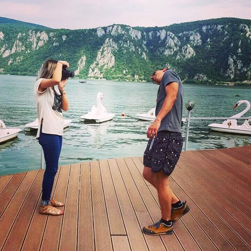Husband and wife Water Full Length Standing Sea Adult Togetherness Mountain People Day Adults Only Vacations Two People Outdoors Women Nautical Vessel Nature Young Adult Young Women Tourist Danube Danube River Romania Love