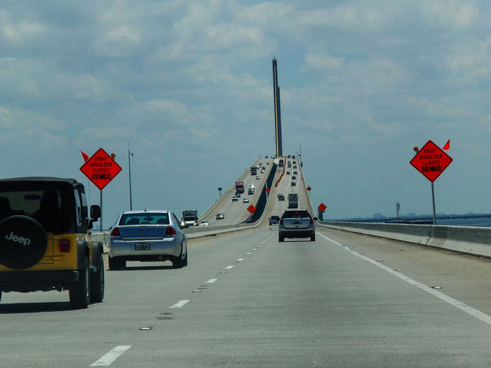 Sunshine Skyway Bridge Tempa_Bay Tampa Bay Tampa Florida Usa Florida Sunshine Skyway Bridge USA Car Cloud - Sky Florida Land Vehicle Nature Street