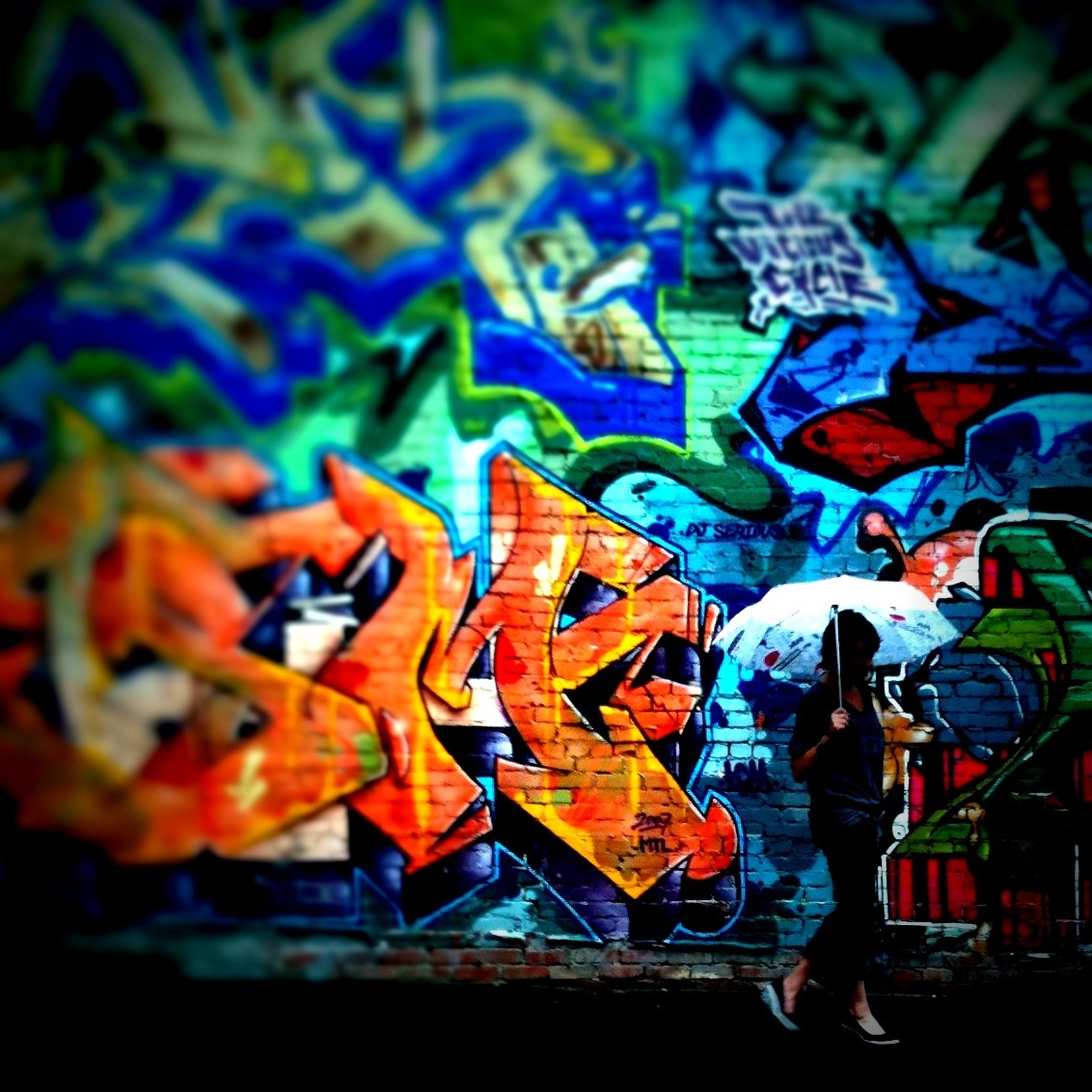 multi colored, creativity, art and craft, art, blue, lifestyles, indoors, leisure activity, men, graffiti, colorful, full length, wall - building feature, pattern, animal representation, standing, close-up