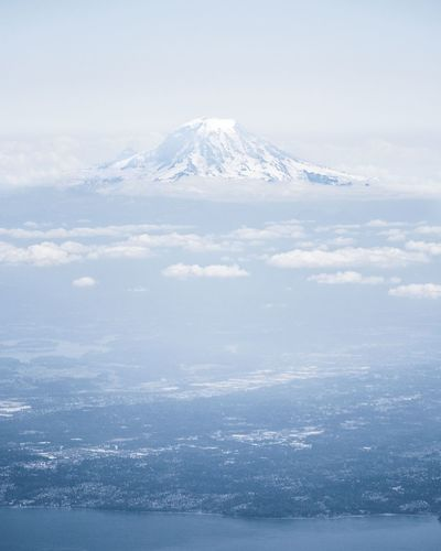An aerial image of Mount Rainier Beauty In Nature Nature Outdoors Mountain America Landscape Aerial View First Eyeem Photo