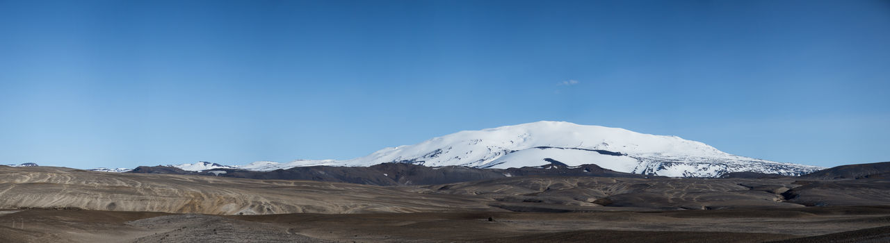 Hekla volcano in Iceland Volcano Landscape Volcano Blue Sky Hekla Iceland Landscape Moonlike Mountain Nature No People Outdoors Panorama Snowcapped Mountain Landscape_Collection
