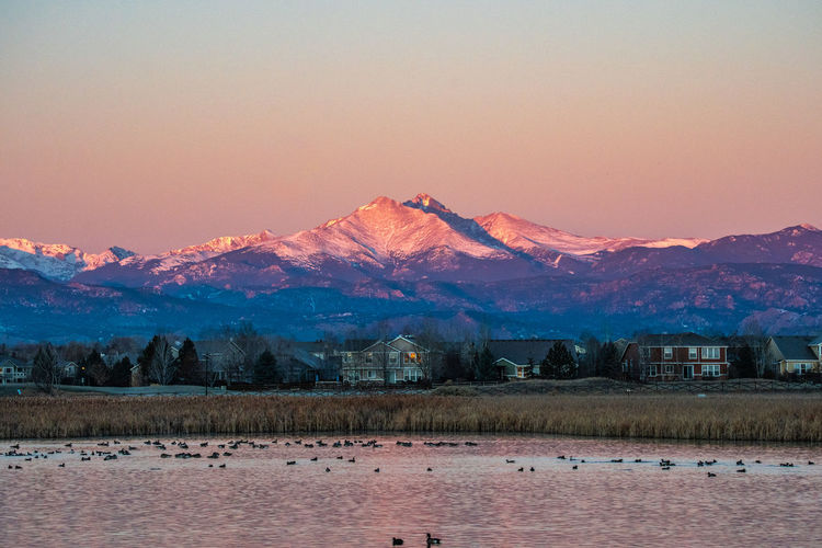 Colorado Boulder Nature Sky Beauty In Nature Mountain Scenics - Nature Sunset Tranquility Tranquil Scene No People Mountain Range Landscape Snow Environment Non-urban Scene Winter Cold Temperature Water Idyllic Waterfront Outdoors Snowcapped Mountain