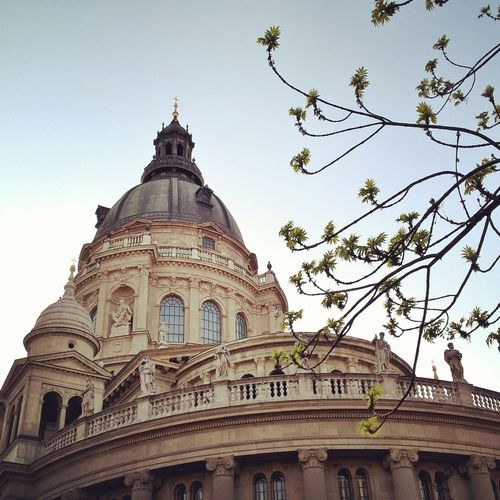 #Basilica #budapest Architecture Building Exterior Built Structure Clear Sky Day Dome History Low Angle View No People Outdoors Sky Travel Destinations Tree