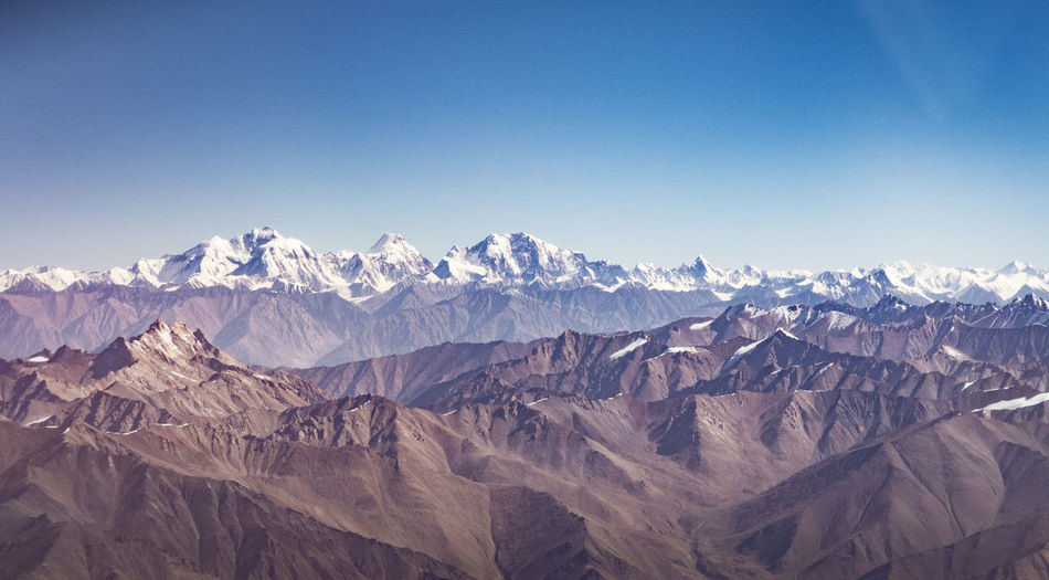 Panoramic view of rocky mountains against clear sky
