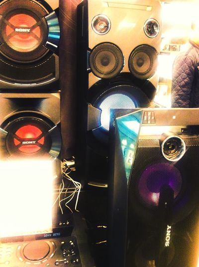 Speakers, display in a shop in town. Speakers Retail  Audio Gear Bass Bin Powered Speakers Retail Therapy Manchester