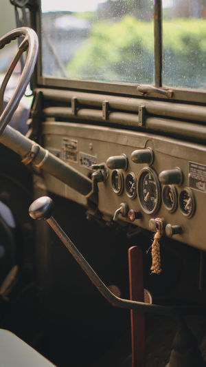 Close-up of vintage car window