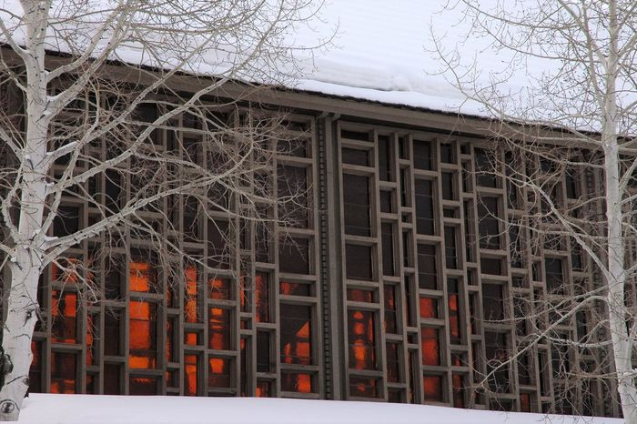 Looking Glass Aspen, Colorado Chapel Church Gold Colors Peaceful Snow Stained Glass Window Trrees Winter