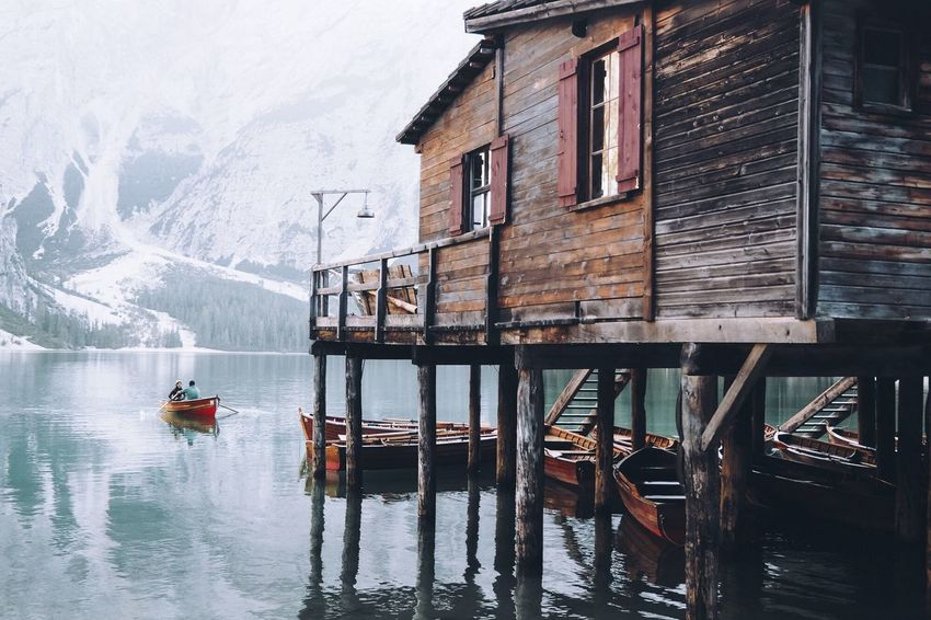 Winter Nautical Vessel Cold Temperature Transportation Building Exterior Architecture Outdoors Day Built Structure Water Nature Mountain Window Snow Travel Destinations No People Beauty In Nature Sky Lake Lake View Boat Mountainlake Mountainlandscape Lagodibraies Pragserwildsee