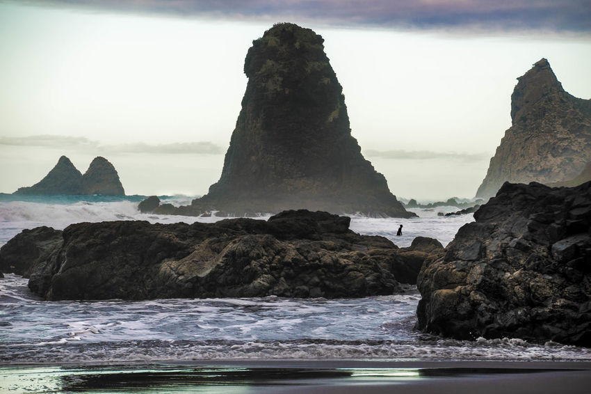 Taganana Benijo Tenerife Island Adventure Waves, Ocean, Nature Water Sea Rock Sky Beauty In Nature Rock Formation Scenics - Nature Solid Rock - Object Nature Land No People Tranquil Scene Tranquility Day Motion Waterfront Beach Outdoors Stack Rock Formation