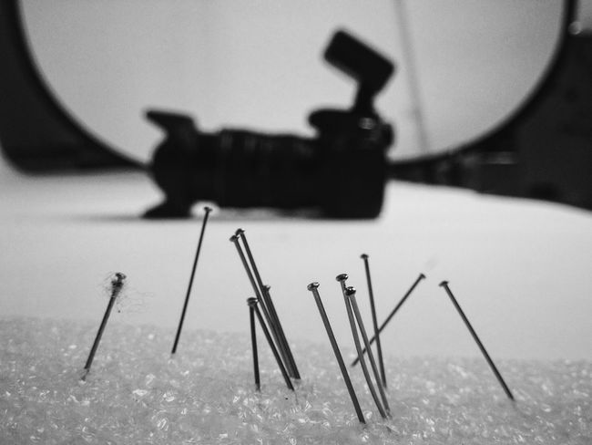 EyeEm Gallery Lines Working Blackandwhite Bw_collection Canon 80D Close-up Day IPhoneography Indoors  Needle No People Shooting Table Work Tool
