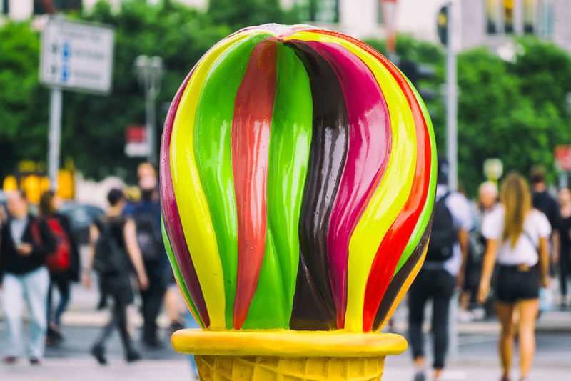 Close-up of colorful ice cream sculpture at potsdamer platz