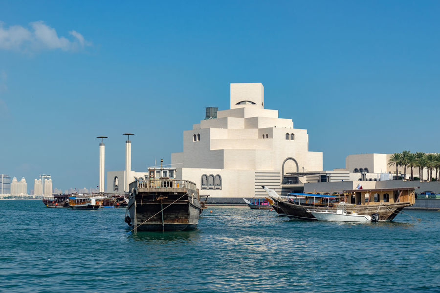 Sky Water Built Structure Architecture Building Exterior City No People Outdoors Doha Qatar Corniche Dhaw Sambuk Mia Museum Islamic Arts Culture And Entertainment Nautical Vessel Sea Gulf