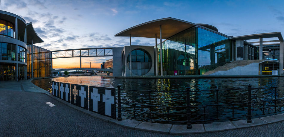German Chancellery Building Architecture Built Structure Bundeskanzleramt Cloud - Sky German Chancellery Government Building Official Building Outdoors Sky Sunset Twilight Water