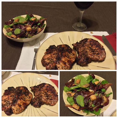 Grilled pork chops served with a salad and my homemade 2013 Chilean Cabernet Sauvignon/Merlot blended wine. ICanCookMyAssOff Nomnombomb TheExpensiveWinos MyFoodPics