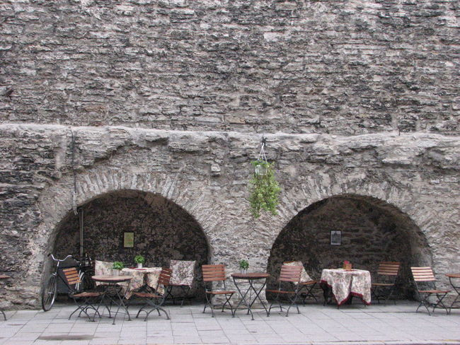 Architecture Built Structure Cafeteria Day Gray No People Outdoors Stone Wall Tables And Chairs