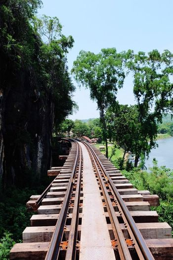 Khanchanaburi The Way To Somewhere Chunsumonpics สถานีรถไฟถ้ำกระแซ ถ้ำกระแซ Railway Track River And Trees Holidays Hello World Thailand
