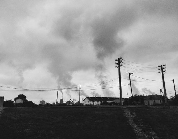 Commercial Builings City Life Smog Factory Building Grey Blackandwhite Black & White Dark