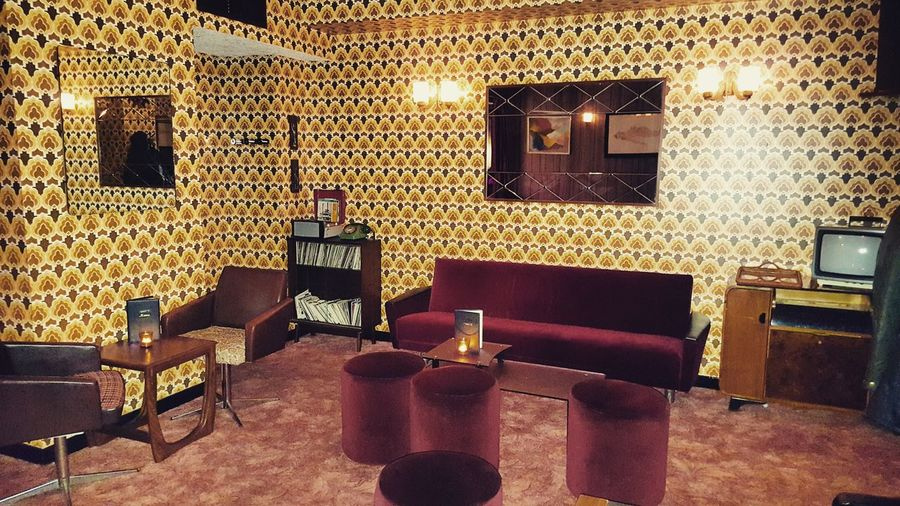 Indoors  Table Illuminated No People Bar - Drink Establishment Wineglass Gold Colored Night 70s 70s Architecture 70s Fashion 70s Stuff 70s Orange Designing Vintage Vintage Photo Vibrant Color Living Room