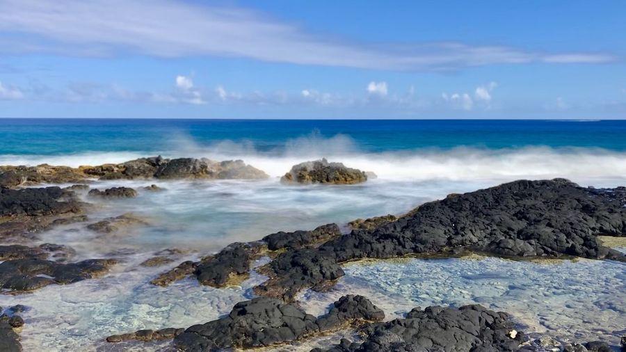Island of Hawaii ocean scenes. Hawaii Big Island - Hawaii Islands Big Island Ocean Photography Seascape Sea Ocean EyeEm Selects Sea Water Sky Scenics - Nature Beauty In Nature Cloud - Sky Horizon Over Water Beach Rock - Object Tranquility Horizon