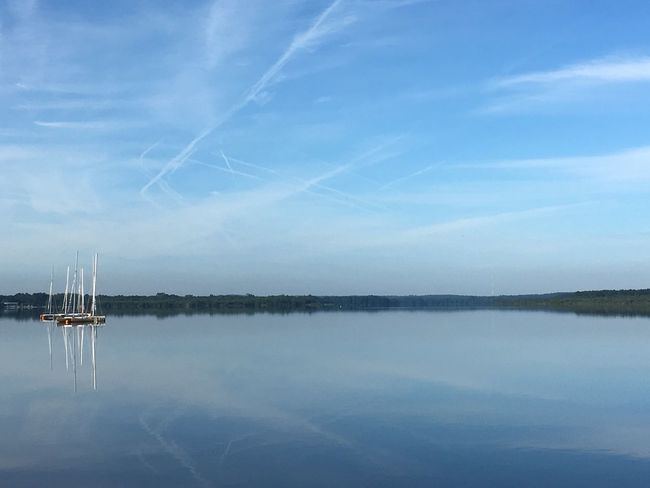 Morning Light Iphonephotography The Essence Of Summer. Landscape No People France No Filter Lake View Lake Of Soustons Sailboats Sailboat In Sunset Clouds And Sky Blue Sky Still Water Original Experiences