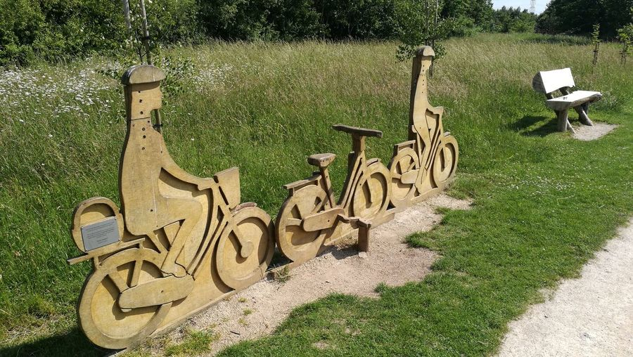 Day Outdoors No People Wood Carving Wood Carving In Wood Carving Park - Man Made Space Tranquil Scene Wood Bike Let's Go. Together. Ruddington Country Park Rushcliffe Country Park Cyclist