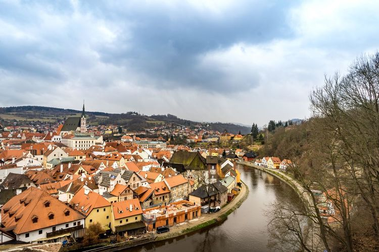 View of cesky krumlov castle and townscape