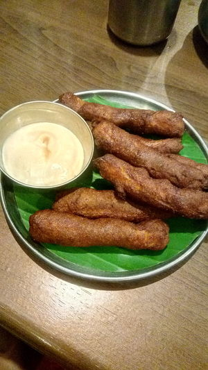 Yummy ! Fish Finger Fish Fish Fingers Food Yummy Yummy♡ Mayonnaise White Sauce Negative Table Plate High Angle View Drink Still Life Close-up Food And Drink Sweet Food Indian Food Prepared Food Banana Leaf Overhead View