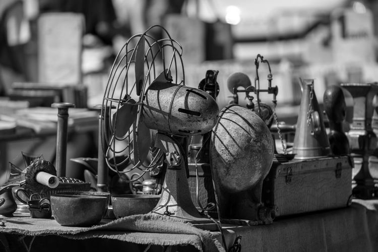 Close-up of old equipment on table