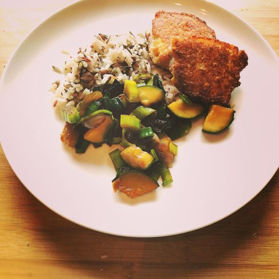 Breaded Celery Schnitzel milanese with fried vegetables and rice Food Ready-to-eat Plate Meal Serving Size Food And Drink No People Celeriac Zucchini Paprica Red Onions Leek Healthy Eating Breading Milanese HuaweiP9 Huaweiphotography Vegetarian Food