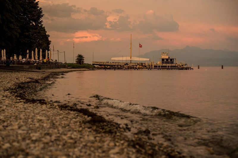 Leman Lake Switzerland Lake Water Sky Cloud - Sky Architecture Beach Built Structure Sea Transportation Tree Scenics - Nature Outdoors Sunset Surface Level Nature Beauty In Nature Land No People