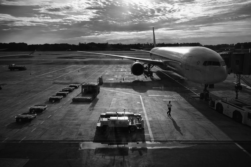 Airport Airport Runway Black And White Cloud Low Key On The Way Shadow Shadows Singapore Sky Transportation Transportation