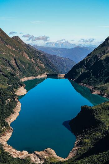 Breathtaking view of the wasserfallboden dam from the higher mooserboden dam