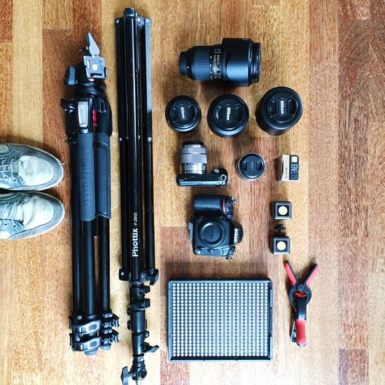EyeEm Selects Directly Above No People Indoors  Camera - Photographic Equipment Day Gear Shoot Preparation  Camera DSLR Lenses Photographer Equipment Setup Equipment Setup
