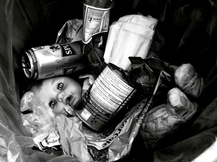 Black & White Doll Doll Photography Dolly Refuses Help Trash Bambola Bianco E Nero Biancoenero Black Black And White Black And White Photography Black&white Blackandwhite Blackandwhite Photography Casual Clothing Childhood Close-up Clothing Eyes Garbage Headshot Help High Angle View Holding Human Representation Immondizia Indoors  Looking At Camera Men Occhi One Person Portrait Real People Refuse Representation Rifiuti Spazzatura Still Life Toy White