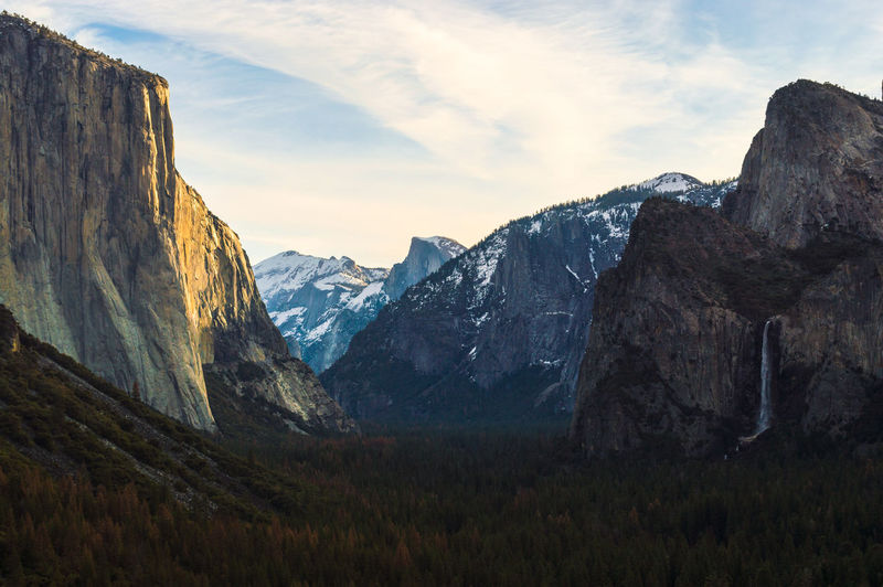 Scenic view of mountains at yosemite national park during sunset