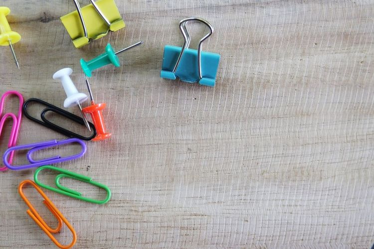 Wood Background Push Pins Paper Clip Still Life High Angle View No People Indoors  Day
