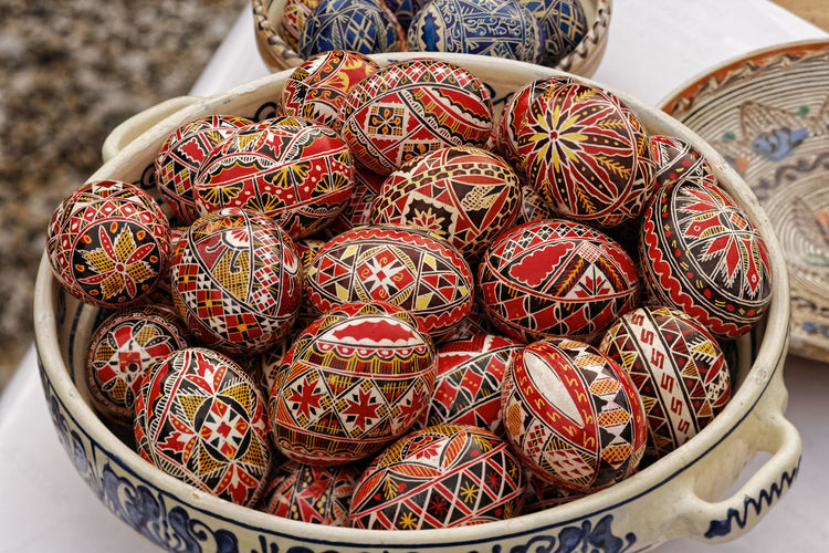 High Angle View Of Decorated Easter Eggs