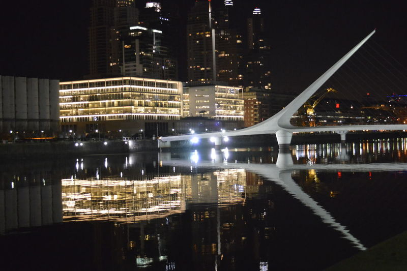 Puerto Madero, Buenos Aires, Argentina Buenos Aires, Argentina  Water Reflection Night Modern Illuminated City Built Structure Architecture