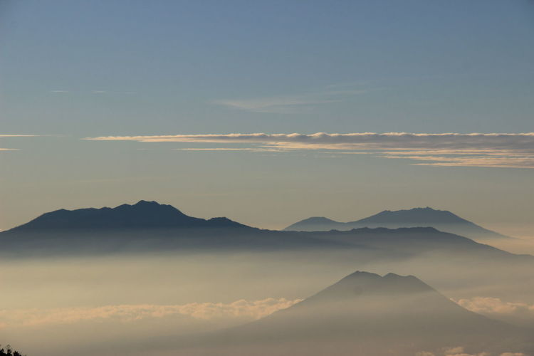 Mount argopuro. scenic view of silhouette mountains against sky during sunset