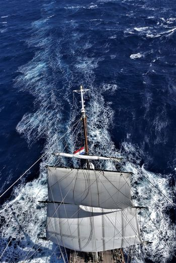 Aerial view of sailboat sailing in sea