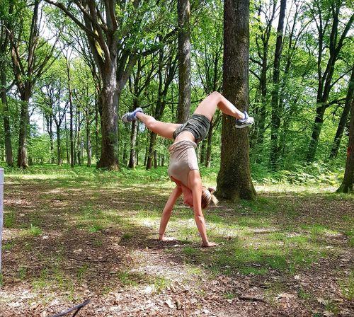 Sexygirl Tree Young Women Full Length Motion Fun Rope Swing Handstand  Growing Energetic Bikini Bottom Woods Energy Acrobatic Activity Gymnastics Fitness Breakdancing Acrobat