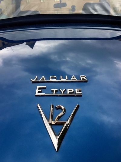 Jaguar E type V12 Engine Jaguar E-Type Communication Text Sign No People Blue Information Capital Letter Transportation Close-up Motor Vehicle Car
