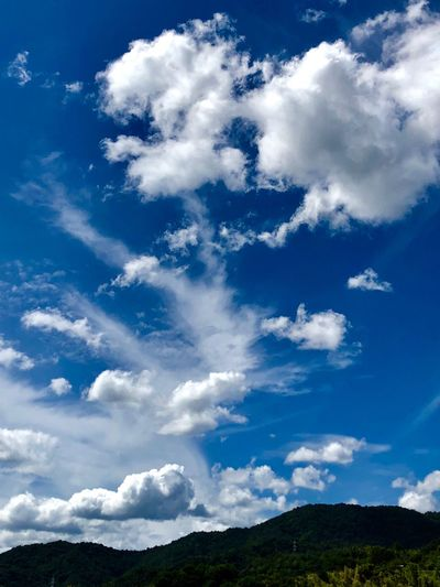 Some Cumulus Clouds against the Blue Sky. (180911-181013) Cloud - Sky Sky Beauty In Nature Blue Tranquil Scene Scenics - Nature Tranquility Nature Environment Landscape Mountain Plant Tree White Color Non-urban Scene Idyllic Day Outdoors No People Low Angle View