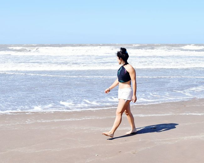 Beach Sea Full Length Only Women One Person One Woman Only People Sunlight Sand Horizon Over Water Standing Adults Only Leisure Activity Adult Day Wave Sky Outdoors Nature Blue Love Girl