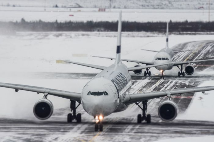 Airbuses in action at Helsinki airport Finnair Airbus Jet Jetlag Spottaaja Transportation Airplane Airport Runway No People Artsy Snowy Finland Helsinki Aviation Airbus Family Airbuslovers Spotting Nikon Planespotting