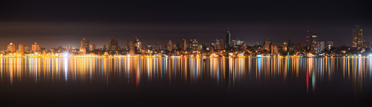 Posadas City Cityscape Illuminated Night Reflection Urban Skyline Water