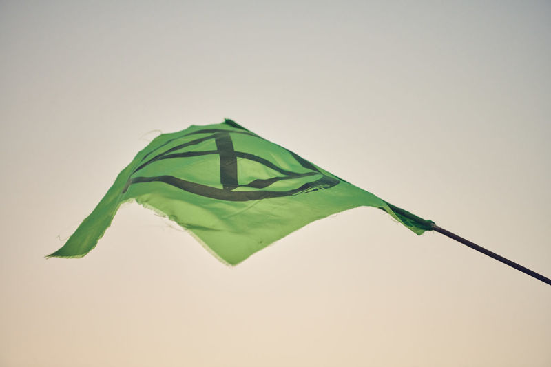 Extinction Rebellion London - Day 7 of Protests on Waterloo Bridge Extinction Rebellion Climate Change Protest Climate Change Streetphotography Street Photography People People Photography Green Color No People Copy Space Studio Shot Close-up Nature Flag Textile Indoors  Green Shape Still Life Single Object Focus On Foreground Sky Patriotism Shadow Waving Day