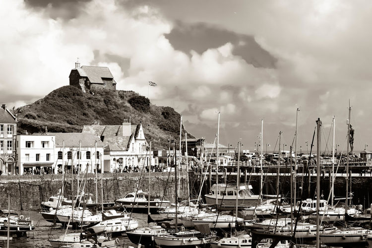Architecture Black & White Black And White Boat Boats Boats And Moorings Cloud Cloud - Sky Cloudy Day Harbor Harbour Mast Mode Of Transport Nature Nautical Vessel Monochrome Photography Outdoors Overcast Sailboat Sky Tranquility Water Weather Wooden Post