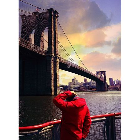 Brooklyn bridge Brooklyn Bridge  NYC NYC Street Photography Picoftheday Photo City Cityscape Red Suspension Bridge Water Bridge - Man Made Structure Sunset Rear View Sky Architecture
